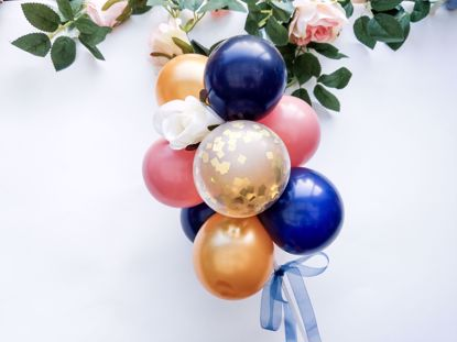 Picture of Balloon Cake Topper Mini Garland Navy Blue Gold Rosewood