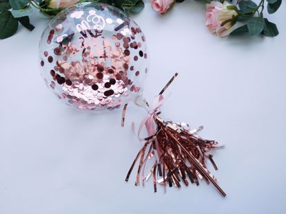 Picture of Balloon Cake Topper Bubble Rose Gold Confetti Tassel