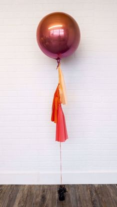 "Picture of 16"" Ombre Coral Orange Pink Balloon with tassels"