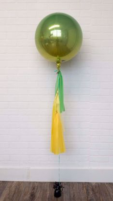 "Picture of 16"" Ombre Green Yellow Balloon with tassels"