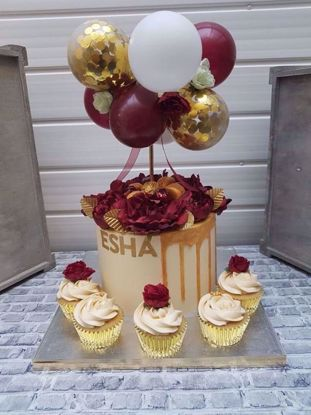 Picture of Balloon Cake Topper Mini Garland  Burgundy Gold