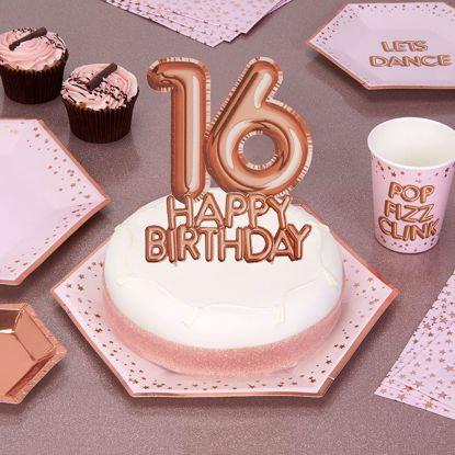 Picture of Happy Birthday Rose Gold Cake Topper Card 16