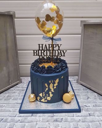 Picture of Cake topper Balloon Confetti Gold Hearts Navy Ribbon