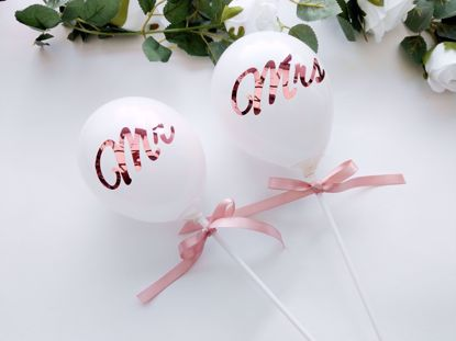 Picture of Rose Gold Mr Mrs Balloons Cake Topper