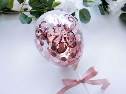 Picture of Rose Gold Cake Topper Balloons Hello 30