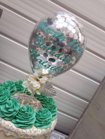 Picture of Balloon Cake Topper Silver Confetti Vinyl Name