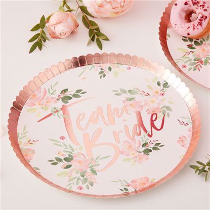 Picture of TEAM BRIDE FLORAL PAPER PLATES - FLORAL HEN PARTY