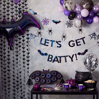 Picture of LET'S GET BATTY IRIDESCENT BLACK HALLOWEEN BUNTING DECORATION