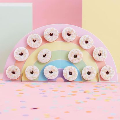Picture of RAINBOW DONUT WALL HOLDER - PASTEL PARTY