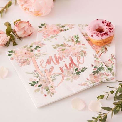 Picture of TEAM BRIDE FLORAL PAPER NAPKINS - FLORAL HEN PARTY