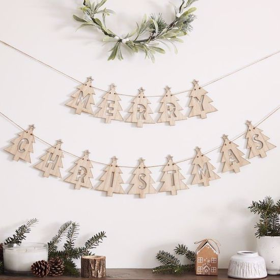 Picture of WOODEN TREE MERRY CHRISTMAS BUNTING DECORATION - LET IT SNOW