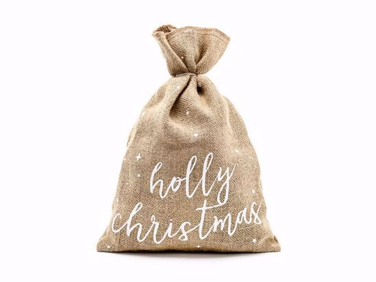 Picture of Jute sack Holly Christmas, white, 30x42cm