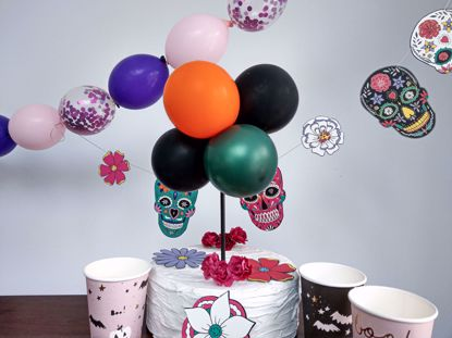 Picture of Balloon Cake Topper Halloween Orange Black Green
