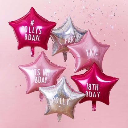 Picture of PERSONALISABLE STAR PARTY BALLOONS WITH STICKERS