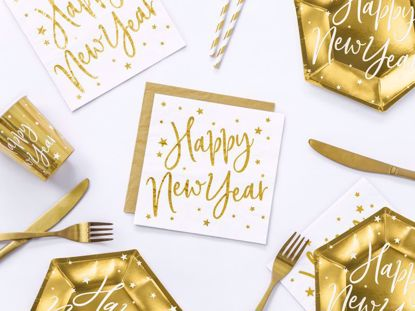 Picture of Happy New Year Napkins Tissue Paper Party Decorations White Gold