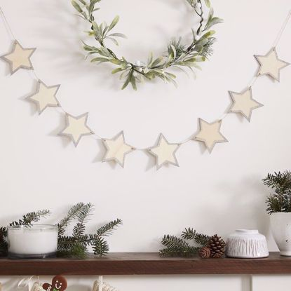 Picture of Wooden Star Bunting with glitter edges Christmas Garland Traditional
