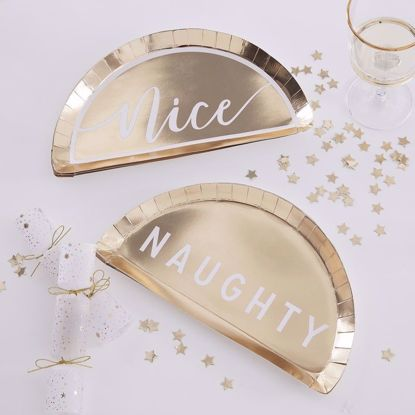 Picture of Gold Paper Plates Naughty Nice Happy New Year Merry Christmas Decorations Tableware