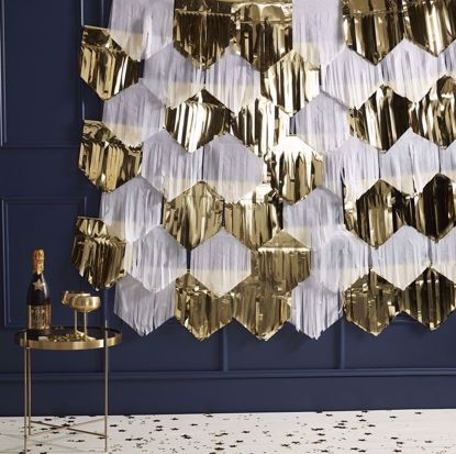 Picture of GOLD AND WHITE FOIL FRINGE CURTAIN CHRISTMAS