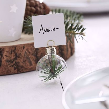 Picture of Bauble Glass Card Place Holder Christmas Foliage