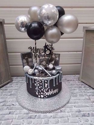 Picture of Balloon Cake Topper Mini Garland Silver Confetti
