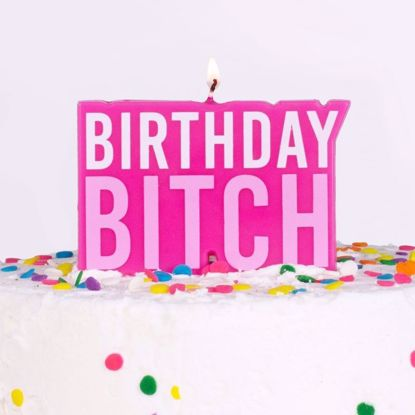 Picture of PINK BIRTHDAY BITCH BIRTHDAY CAKE CANDLE - NAUGHTY PARTY