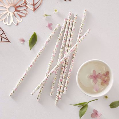 Picture of FLORAL PAPER STRAWS - DITSY FLORAL