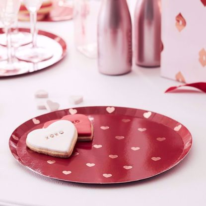 Picture of Red Plates With Rose Gold Foiled Hearts