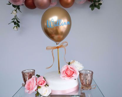 Picture of Balloon Cake Topper Chrome Gold Custom Name Vinyl