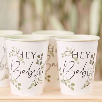 Picture of Hey Baby Shower Paper Cups Botanical