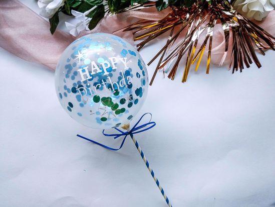 Picture of Balloon Cake Topper Confetti Blue Happy Birthday