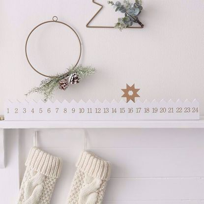 Picture of WOODEN STAR REUSEABLE ADVENT CALENDAR