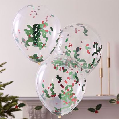 Picture of CHRISTMAS HOLLY AND BERRIES CONFETTI PARTY BALLOONS