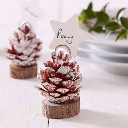 Picture of PINE CONE CHRISTMAS PLACE CARD HOLDERS