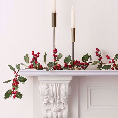 Picture of ARTIFICIAL HOLLY AND BERRIES CHRISTMAS GARLAND