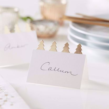 Picture of CHRISTMAS TREE PLACE CARDS WITH GOLD FOIL