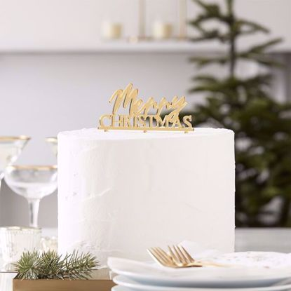 Picture of MERRY CHRISTMAS GOLD ACRYLIC CAKE TOPPER