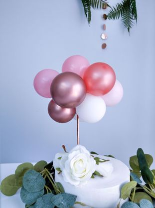 Picture of BALLOON CAKE TOPPER GARLAND ROSE GOLD CHROME PINK
