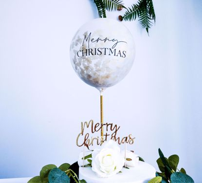 Picture of Merry Christmas Balloon Cake Topper  Tissue Gold Tree