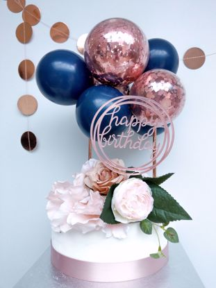 Picture of ROSE GOLD BALLOONS CONFETTI CAKE TOPPER BIRTHDAY NAVY
