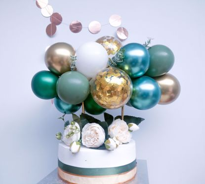 Picture of Cake Topper Balloon Garland Eucalyptus Gold Chrome Confetti