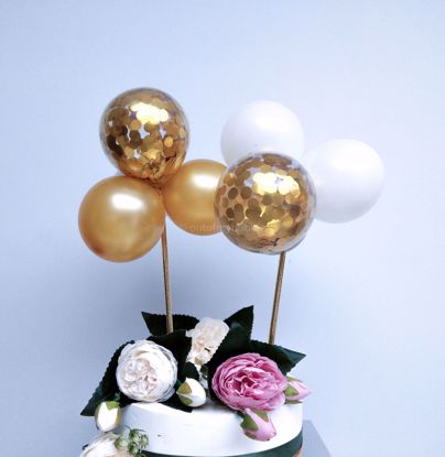 Picture of Balloon Cake Topper Gold White