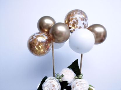Picture of Balloon Cake Topper Gold  Chrome White