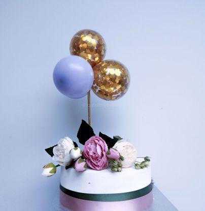 Picture of Balloon Cake Topper Gold Confetti Lilac