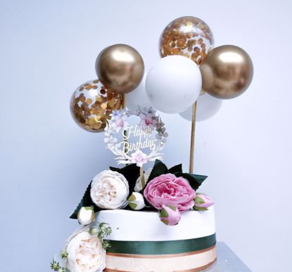 Picture of GOLD BALLOONS CONFETTI CAKE TOPPER BIRTHDAY FLOWERS