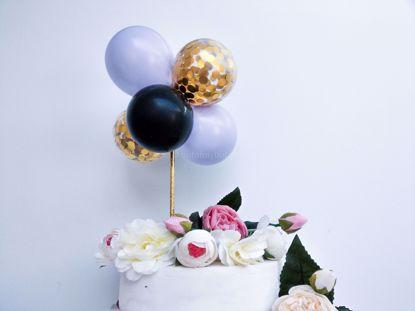 Picture of Balloon Cake Topper Mini Garland Lilac Black Gold Confetti