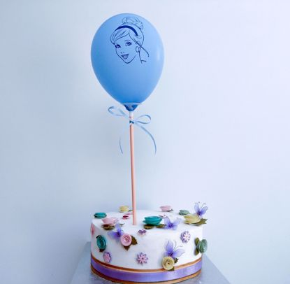 Picture of PRINCESS BLUE BALLOON CAKE TOPPER